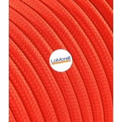 ROUND ELECTRIC CABLE COVERED COLOUR FABRIC FLUO ORANGE LM44