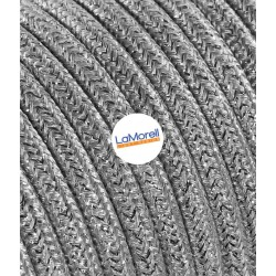 ROUND ELECTRIC CABLE COVERED COLOUR FABRIC LAME' SILVER LM38