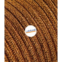 ROUND ELECTRIC CABLE COVERED COLOUR FABRIC LAME' COPPER LM39