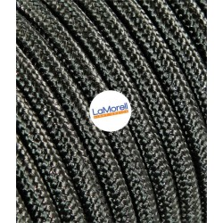 ROUND ELECTRIC CABLE COVERED COLOUR FABRIC LAME' GREY LM40