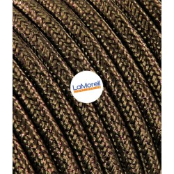 ROUND ELECTRIC CABLE COVERED COLOUR FABRIC LAME' BROWN LM41