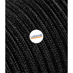 ROUND ELECTRIC CABLE COVERED COLOUR FABRIC LAME' BLACK LM42