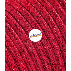 ROUND ELECTRIC CABLE COVERED COLOUR FABRIC LAME' RED LM43