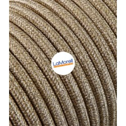 ROUND ELECTRIC CABLE COVERED COLOUR FABRIC LAME' GOLD LM62