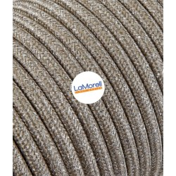 ROUND ELECTRIC CABLE COVERED COLOUR FABRIC LAME' SAND LM63
