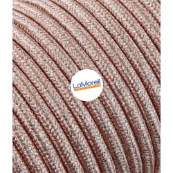 ROUND ELECTRIC CABLE COVERED COLOUR FABRIC LAME' PINK LM64
