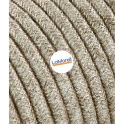 ROUND ELECTRIC CABLE COVERED COLOUR FABRIC CANVAS BEIGE LM21