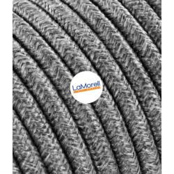 ROUND ELECTRIC CABLE COVERED COLOUR FABRIC CANVAS GREY LM22