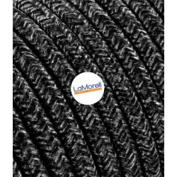ROUND ELECTRIC CABLE COVERED COLOUR FABRIC CANVAS DARK GREY LM23