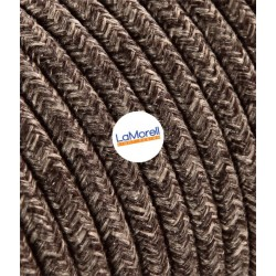 ROUND ELECTRIC CABLE COVERED COLOUR FABRIC CANVAS BROWN LM24