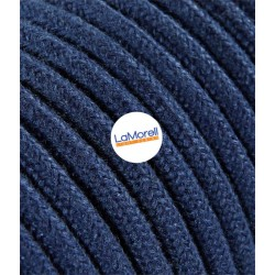 ROUND ELECTRIC CABLE COVERED COLOUR FABRIC BLUE JEANS LM48