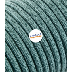 ROUND ELECTRIC CABLE COVERED COLOUR FABRIC GREEN SAUGE LM61