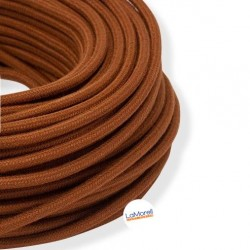 ROUND ELECTRIC CABLE COVERED COLOUR FABRIC BROWN RUSTY LM88